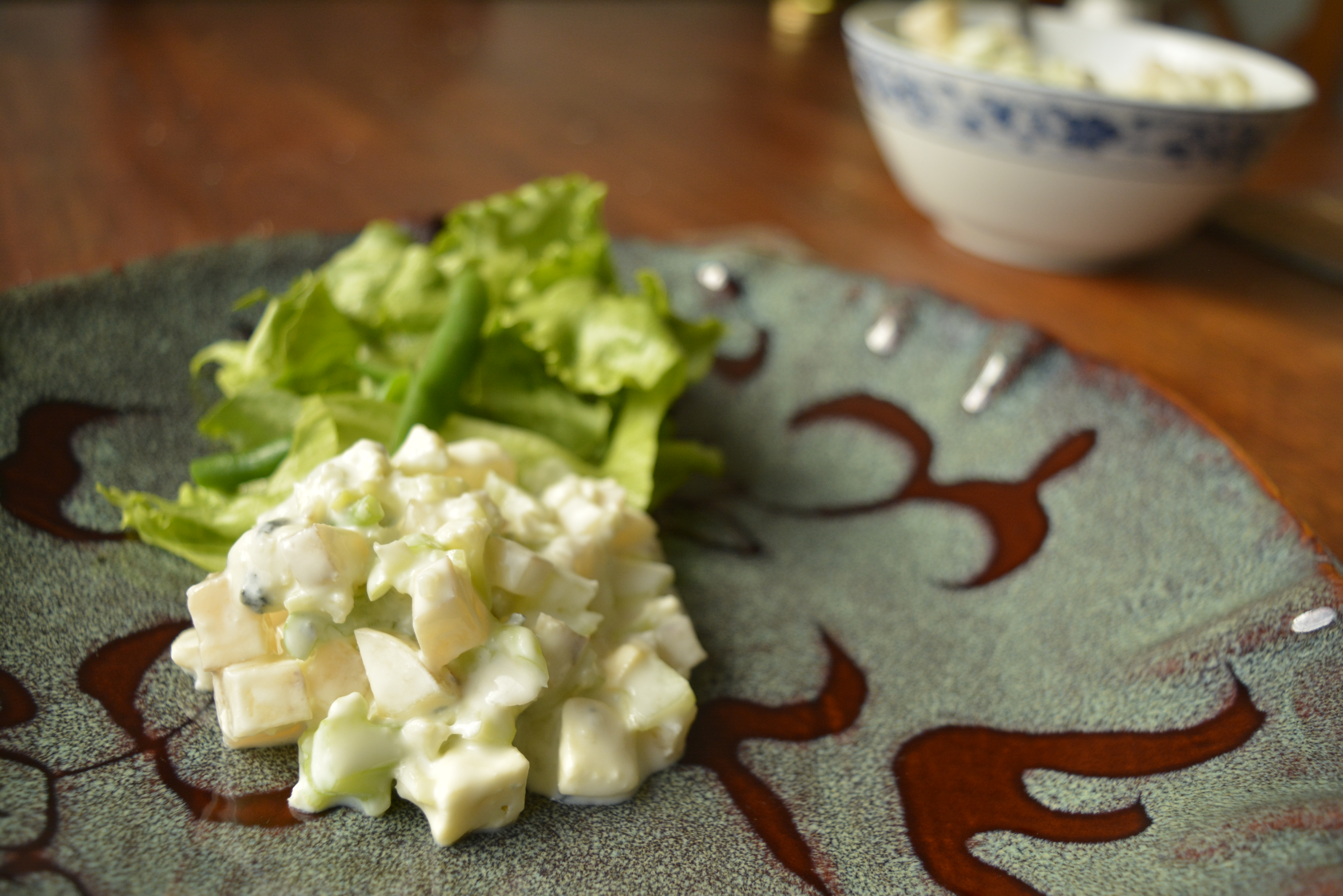 Batata yacon com molho de gorgonzola