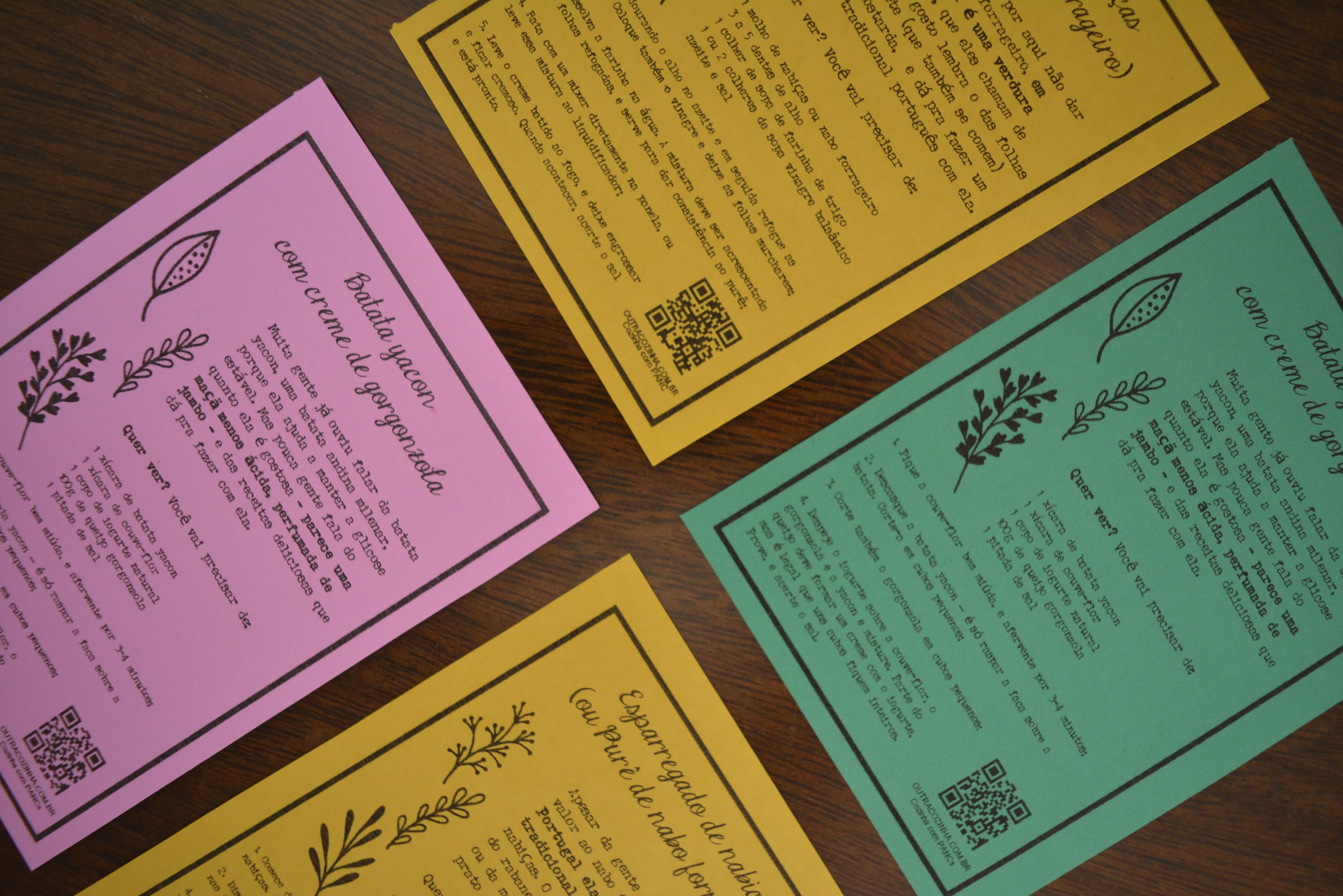 postais com receitas PANC